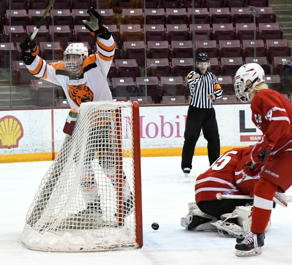 This short-handed goal by sophomore Adam Brown in the second period held up as the game-winner in Delano's 2-1 win over North Branch Saturday morning at Mariucci Arena. Photo by Matt Kane