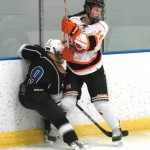 Meghan Staunton and her Tiger teammates pushed around St. Peter and New Ulm in the first two rounds of the Section 2A tournament last week. Delano plays Mound-Westonka Thursday at Gustavus for the section championship and the first ever state berth in hockey for Delano High School. Photo by Matt Kane
