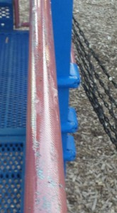 A slippery substance was applied to playground equipment at Veterans Park in Montrose, causing the park to be closed Sunday afternoon until the equipment could be cleaned Monday.