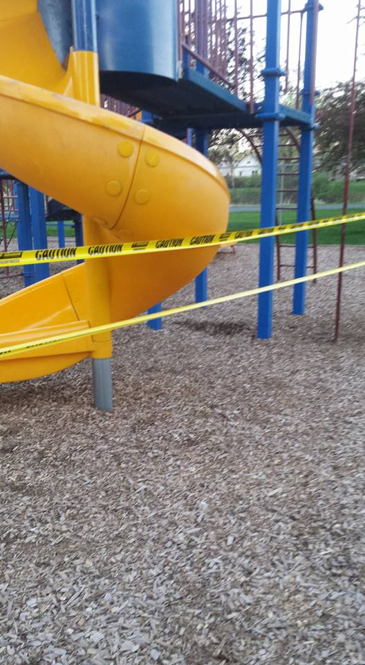 Caution tape was used to close Veterans Park in Montrose after a slippery substance was discovered on the equipment there. (Photo posted in Community of Montrose MN by Michelle Otto)