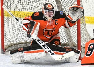 Led by senior goaltender Jackson Hjelle, the Delano boys will kick off a full night of hockey at the Delano Area Sports Arena Tuesday at 5 p.m. with a game against Litchfield/Dassel-Cokato. Photo by Matt Kane