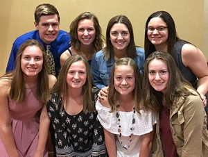 The eight Delano swimmers who were honored May 4 at the 2017-18 Minnesota All-Star Swimming and Diving Banquet are (front row, from left) Laila Rosenow, Kylie Strobl, Emma Kern and Emily Bobick; and back row: John Kenison, Morgan Frank, Lauren York and Jordyn Wentzel. Wentzel was named the Class A Girls Athlete of the Year. Delano girls coach Karen Shallbetter was nominated for coach of the year. Photo Submitted