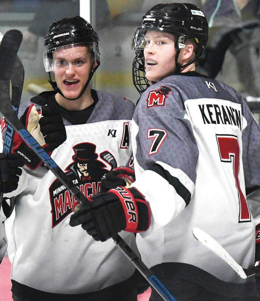 Andrew Kruse and John Keranen are natural leaders, and both have worn a letter as the captain or assistant captain at, both, the high school and junior levels of hockey. Here, the two celebrate a Magicians goal against Janesville March 22. Photo by Matt Kane