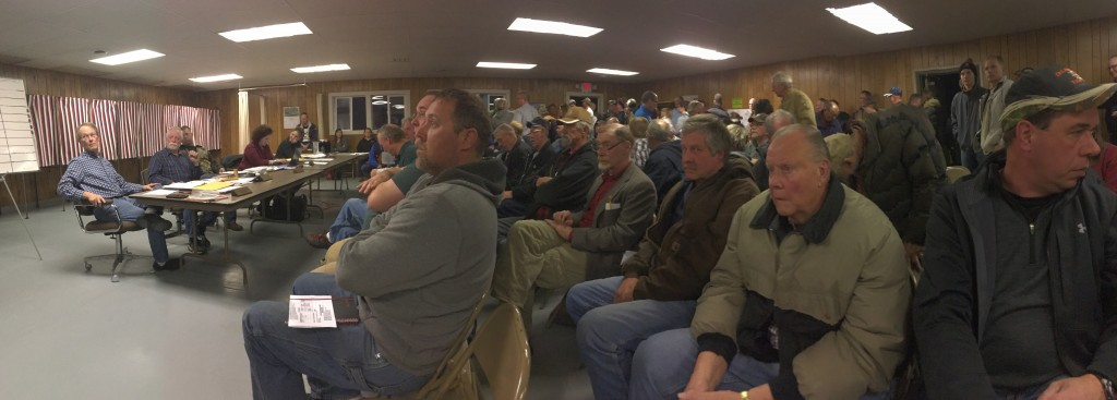 A standing-room-only crowd of more than 100 people attended Monday's Franklin Township Board meeting, during which the board approved support of expansion of the Delano Sportsmen's Club into Wright County, with a number of conditions.