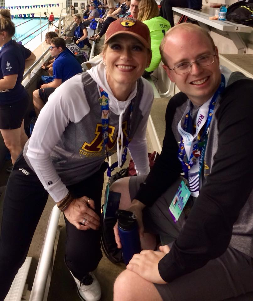 Eric Anderson, of Delano, took gold in his 100-meter breaststroke at the Special Olympics USA Games. He is pictured with coach Kristin Nelson. See a future edition of the Delano Herald Journal for more coverage of Anderson's time competing at the national level.