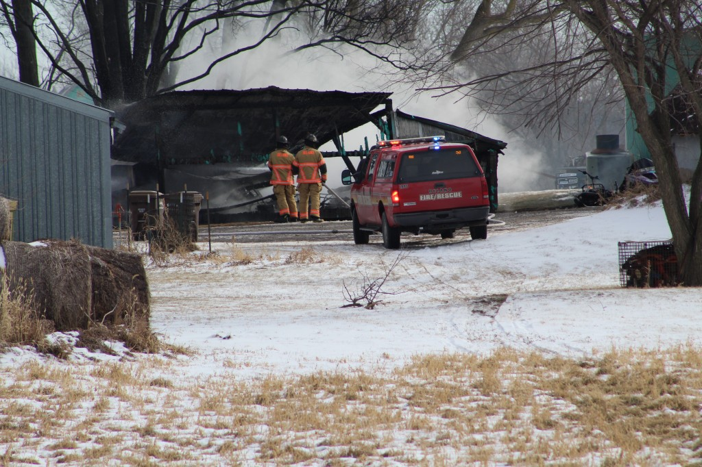 Firefighters respond to a barn fire at 1225 County Rd. 30 in Franklin Township Monday morning. The 30-foot-by-30-foot barn appeared to be a total loss. Delano Fire Department was paged to the fire at 10:47 a.m., and called fire departments from Montrose and Waverly for mutual aid. The Wright County Sheriff's Office and Ridgeview Ambulance also assisted at the scene. See more in the Friday, Jan. 12, edition of the Delano Herald Journal.