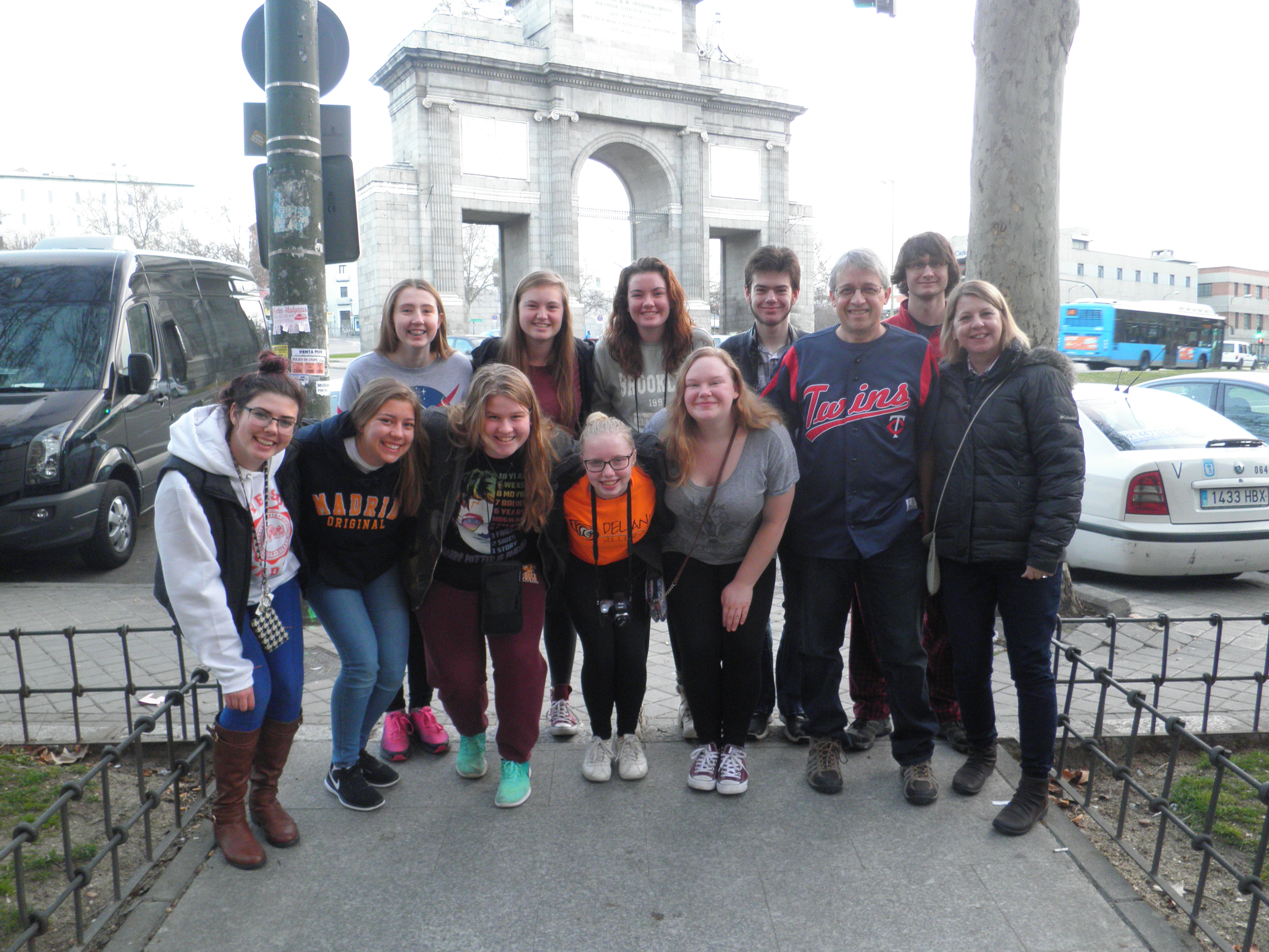 Ten Delano High School students and two chaperones visited Spain in February. They were (front) Meagan Maschino, Ginger Valentine, Courtney Rajewsky, Julia Egly, Allison Schaust, John and Dawn Fitzer, (back) Marleena Dieterich, Natalie Pupp, Brandi Sleypen, Mason Rodine, and Jack Ludwig.