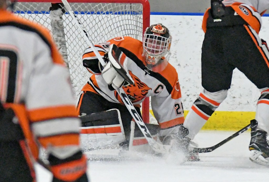 Jackson Hjelle made saves on all 29 shots he faced Tuesday night at New Prague to earn his first shutout of the season. Delano won the game 3-0. Photo by Matt Kane