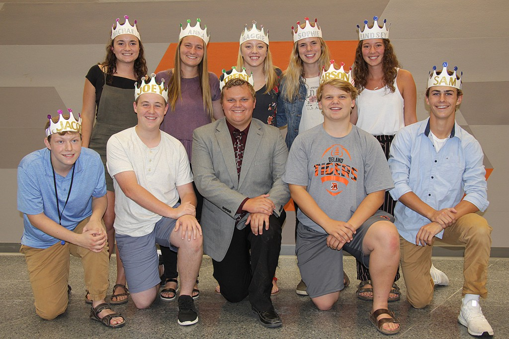 Homecoming queen candidates are, back row from left, Michaela Paskach, Anna Keranen, Maggie Jacobs, Sophie Seurer and Lindsey Dreger. King candidates are, front from left, Jacob Praska, Joey Snell, Trent Peterson, Carson vanSytzama and Sam Kern.