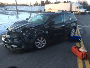 The driver of this 2006 Subaru, David Kenison, 52, of Delano, was injured in the Monday morning crash.