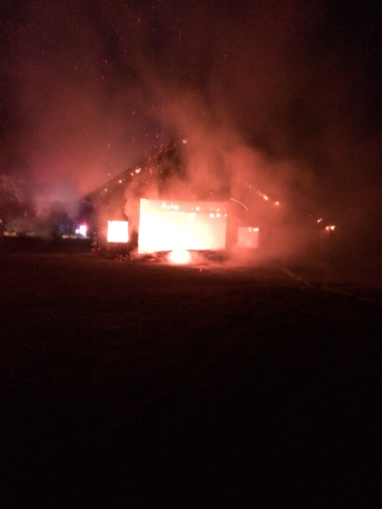 A West Hennepin Public Safety Department officer took this picture of the fire in progress.