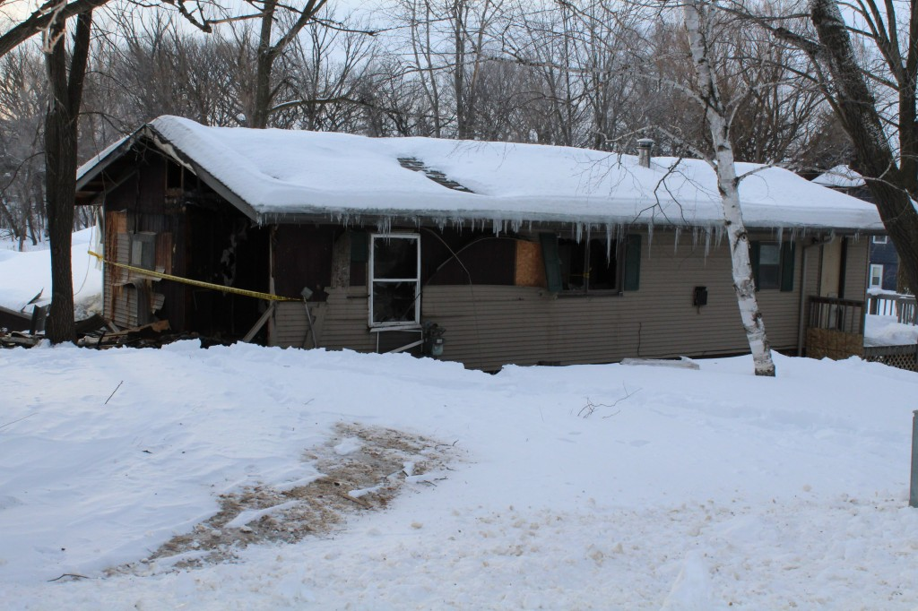 This home at 3692 Darrow Ave. SE is a total loss following a fire Wednesday evening.