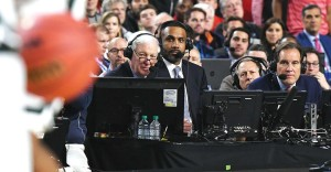 Grant Hill is pictured with Bill Raftery, left, and Jim Nantz, right.