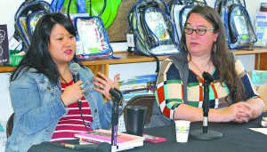 """Sun Yung Shin and Heid Erdrich spoke about """"A Good Time for the Truth: Race in Minnesota"""" during an event Saturday at Delano Public Library."""