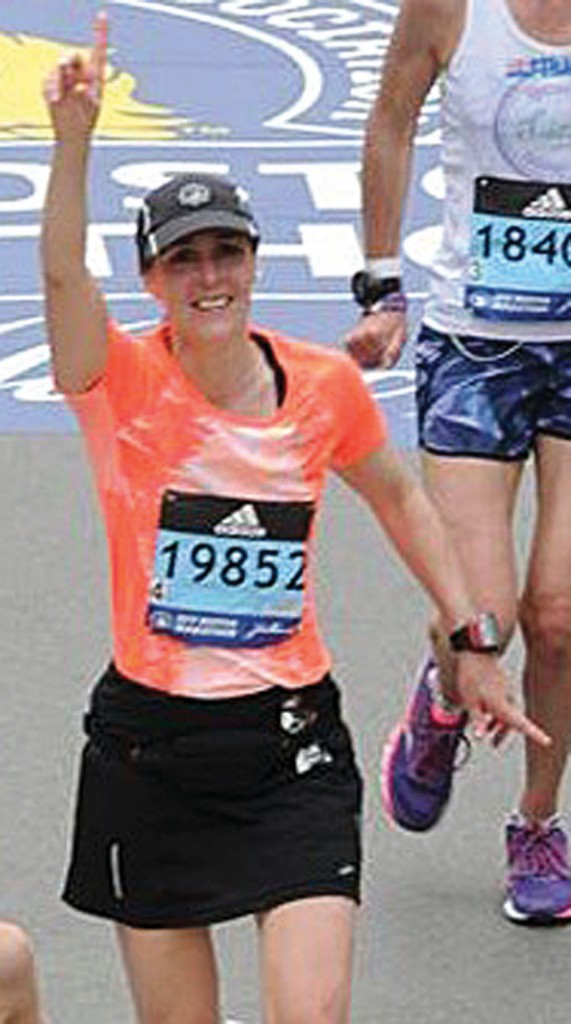 Delano's Chris Lowery ran her fifth Boston Marathon Monday. Here, she is finishing the 2017 race, when the weather was much more comfortable. Photo courtesy of Chris Lowery